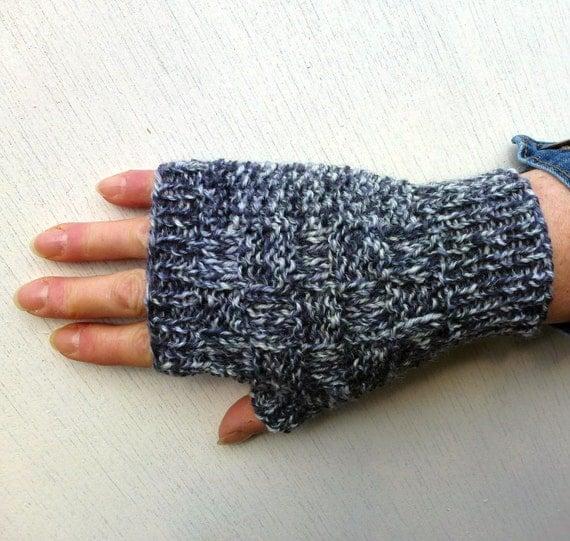 Knitting Pattern For Short Finger Gloves : Thin Fingerless GlovesHand Knitted Gloves Short Gloves Gray