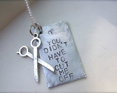Gotye Inspired Necklace- You didn't have to cut me off, with silver scissors charm