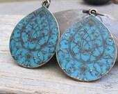 Bohemian turquoise teardrop earrings