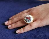 Ethnic, Traditional Turkish Tiles Ring, ADJUSTABLE SIZE