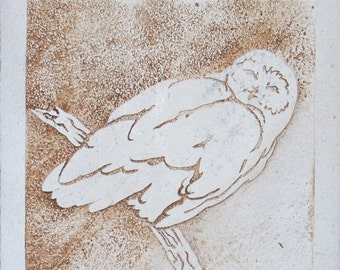 SALE 8x8 Etched Limestone Snowy Owl Tile