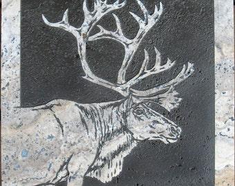 12x12 Pale Caribou Stone Medallion