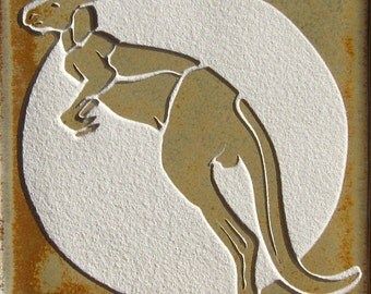 Red Kangaroo - 4x4 etched Porcelain Tile - SRA