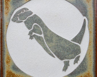 River Otter - 4x4 Etched Porcelain Tile- SRA