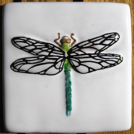 4x4 Green Dragonfly Handmade Tile
