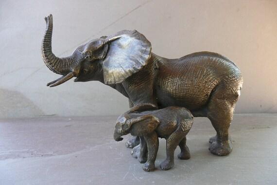 Miniature Bronze Elephant & Calf