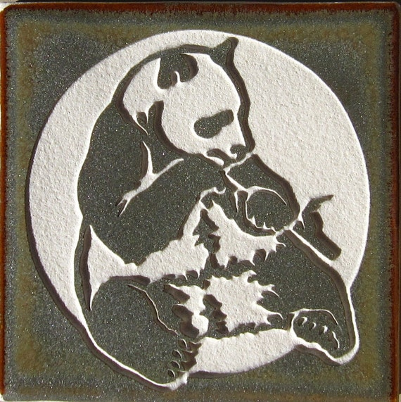 Panda Bear- 4x4 Etched Porcelain Tile