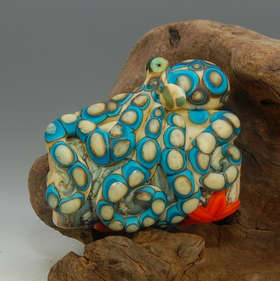 Large-Hole Turquoise-Ringed Octopus- Lampwork Sculpture Bead- SRA