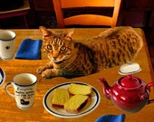 Cat Hair, Cat Home Decor, Cat Art Print, Kitchen Art, Kitchen Decor, Whimsical Print, Cat Wall Art, Deborah Julian