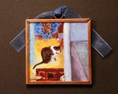 Cat Art Magnet- Cat Bathing