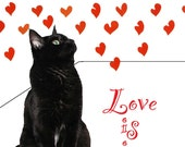 Black Cat Card- Black Cat Red Hearts and Love - DeborahJulian