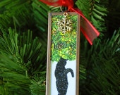 Black Cat Christmas Ornament- Black Cat in Snow