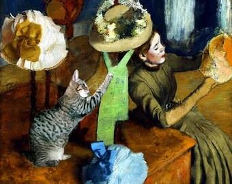 Cat Art Print, Inspired by Edgar Degas, Tabby Cat Art,  Impressionist Art Parody, Whimsical Art, Deborah Julian