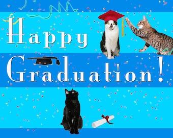 Graduation Card, Cat Lover, Whimsical Art, Handmade, Deborah Julian