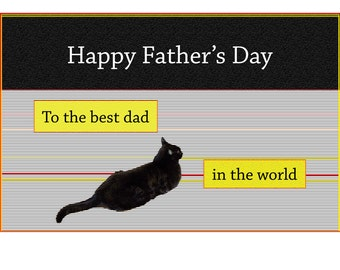 Father's Day Card, Cat Art, Black Cat, Blank Greeting Card, Handmade, For Him, For Men, Cat Lover