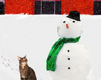 Cat Christmas Cards, Cat and Snowman, Paper Handmade Greeting Card, Holiday Cards for Cat Lovers by Deborah Julian