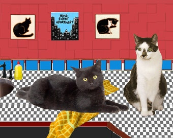Home Sweet Apartment, Black Cat Art Print, New Apartment, Apartment Wall Art, Apartment Warming Gift, Deborah Julian