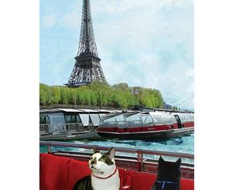 Cat Art Print, Paris France, Cat Wall Art, Eiffel Tower, Wall Decor, Giclee Art Print, Cat Artwork, Deborah Julian