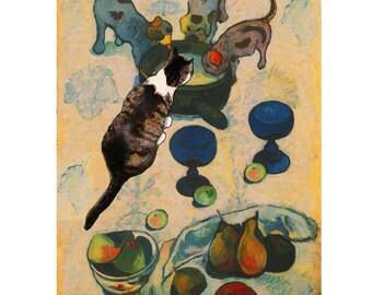 Cat Card, Cat lover cards, Paul Gauguin Parody, Cat Art, Funny cat card, Blank Greeting Cards by Deborah Julian