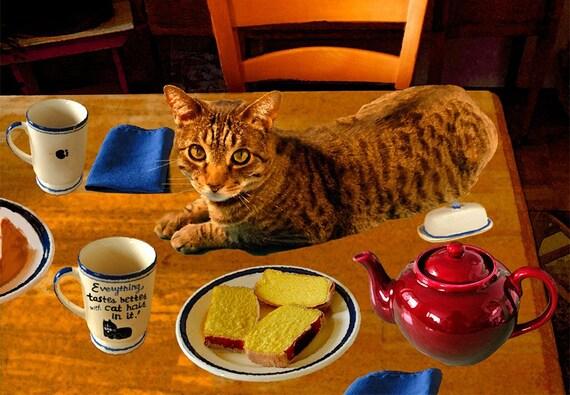 Cat Art Print, Kitchen Art, Funny Cat Art, Cat Home Decor, Kitchen Decor, LOL Cats, Cat Wall Art, Deborah Julian