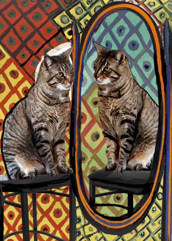 Pablo Picasso Cat Art Print, Cat Before a Mirror, Whimsical Print, Cat Wall Art, Funny Cat, Designer Artwork by Deborah Julian