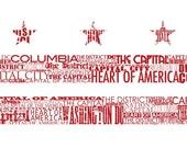 Washington DC Flag Nickname Poster - 24x12
