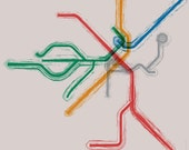Boston T Map Gallery Wrap Canvas - 12x12