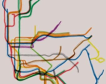 New York Subway Poster - 16x20