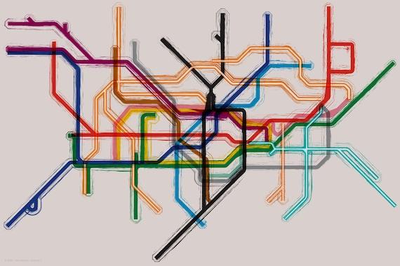 London Tube/Underground Map Gallery Wrap Canvas - 14x10
