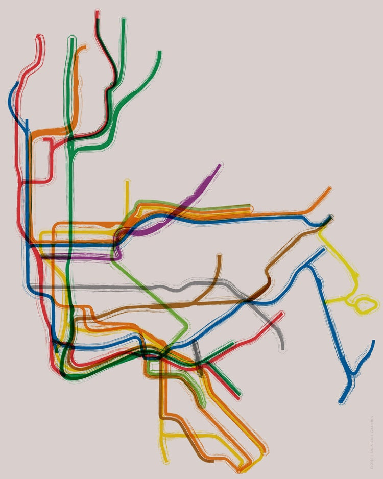 Line Art Map : New york subway poster