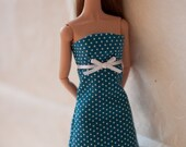 SDB -  60's blue sheath dress with white polka dots for Poppy Parker