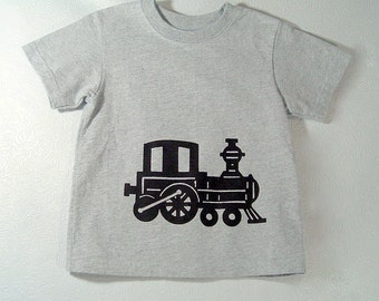 Train Screenprinted Childrens Tee Shirt Gray with Black Ink