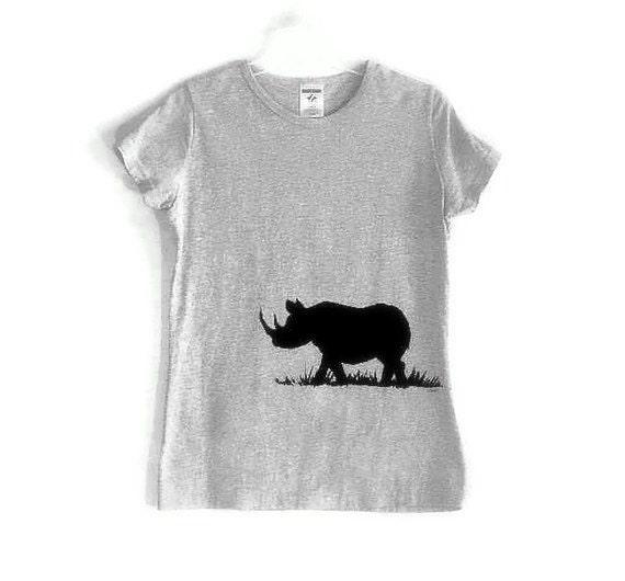Black Rhinocerous Screenprinted Gray TShirt  Black Ink