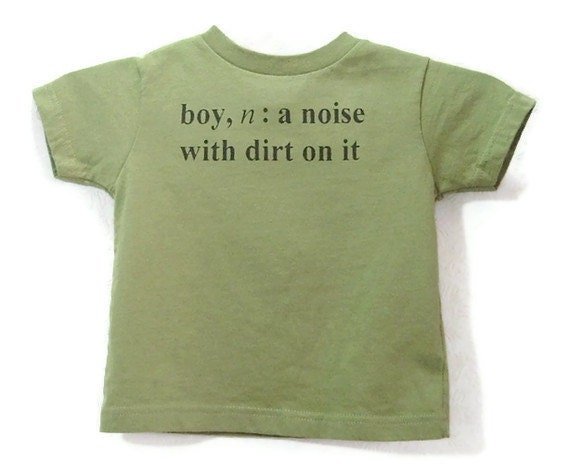 Screenprinted Childrens Tee Shirt Boy Definition Text Olive Shirt Black Ink Size 2T