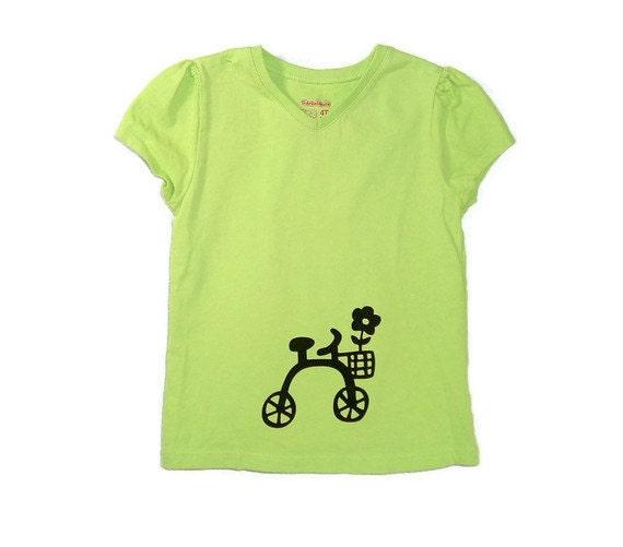 My Big Girl Bike Screenprinted Girl's Tee in Lime Green and Black Size 4T