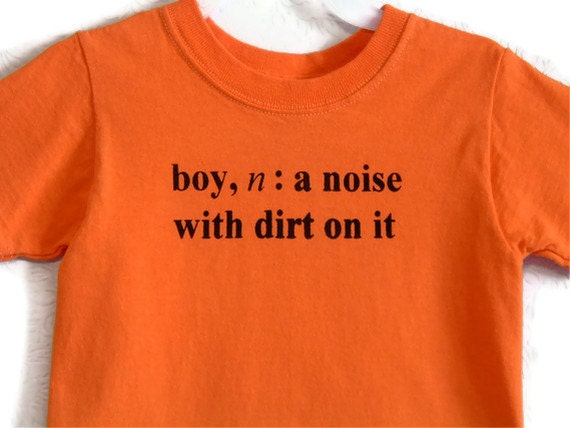Boy Definition Screenprinted Children's T-shirt Orange Black Ink Sizes 6-8