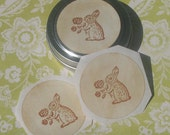 25 bunny rabbit stickers in a tin 1.5 inch seals