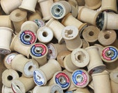 Vintage Wood Thread Spools one dozen (12)  assorted brands all around 1.25 inches tall