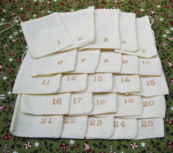 muslin bags for ADVENT 25 4x6 inch muslin bags individually numbered