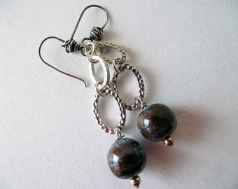 Silvery Oval and Ceramic Earrings