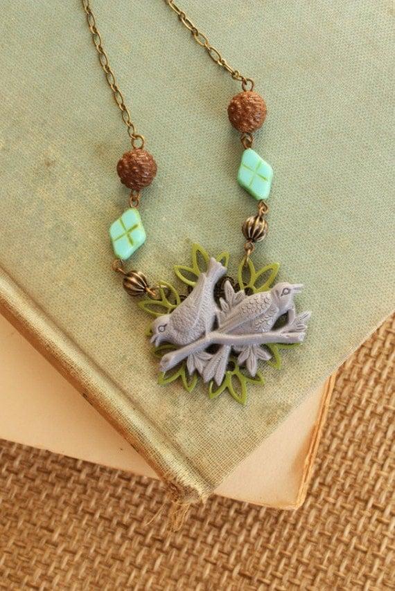 Spring Birds, Lavender and Olive Enameled, Handmade Necklace