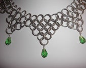 Chainmaille Necklace with Green Crystal Teardrops