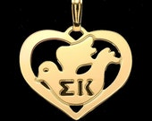 SIGMA KAPPA, gold plated, dove in heart pendant.