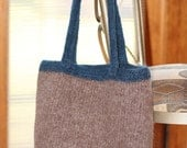 Blue and Brown Knitted and Felted Tote