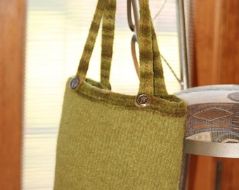 Green Knitted and Felted Bag