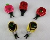 Ladybug & Bumble Bee Ribbon Sculpture Bows - Set of 2 - Handmade