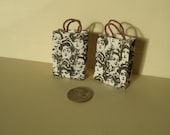 6 Miniature Doll house accessories paper bags-Miniature paper bags-Mini Scrapebook bags