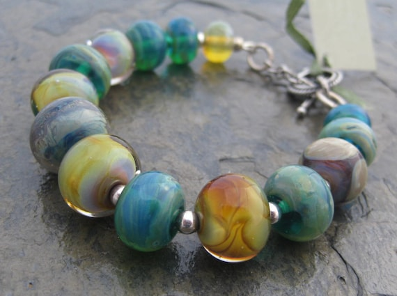 "Multicolor Lampwork Bracelet 188   ""All In Good Fun """