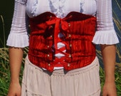 Red and Tan Reversible Corset- size M