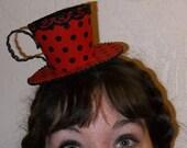 Teacup Fascinator- Red and Black